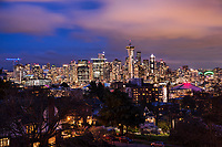 This is the quintessential skyline view of Seattle that most people recognize. The significance of this image on this particular night is that the observation level at the top of the Space Needle is not illuminated. Due to the coronavirus outbreak, the Space Needle has closed for the rest of March. (March 22, 2020)