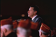 Sectretary of Defense Casper Weinberger speaking to a American Legion event in March 1985<br /><br />Photograph by Dennis Brack