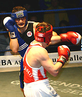 BOKSING BOXING FINALE 69 KG KLASSEN 11. JANUAR 2004 OSLO (F.V.) KAY TVERBERG DRAMMEN NORGE OG FERGUS TURNER IRLAND<br />FOTOGRAF: KURT PEDERSEN DIGITALSPORT