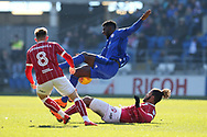 Lois Diony of Bristol city ® fouls Bruno Ecuele Manga of Cardiff city. EFL Skybet championship match, Cardiff city v Bristol city at the Cardiff city stadium in Cardiff, South Wales on Sunday 25th February 2018.<br /> pic by Andrew Orchard, Andrew Orchard sports photography.
