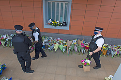 ©Licensed to London News Pictures 26/09/2020  <br /> Croydon, UK. Flower memorial for Sgt Matt Ratana at Croydon Custody Centre this morning. A murder investigation has been launched by police after the death of  custody police sergeant Matt Ratana at the Croydon Custody Centre in South London yesterday.Photo credit:Grant Falvey/LNP