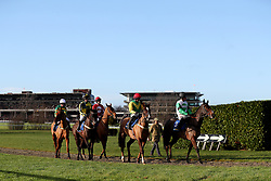 Runners and riders at the start of the Betbright Dipper Novices' Chase