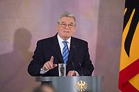 22 FEB 2013, BERLIN/GERMANY:<br /> Joachim Gauck, Bundespraesident, haelt eine Rede zu Europa, Schloss Bellevue<br /> IMAGE: 20130222-02-018<br /> KEYWORDS: Europarede, speech, Europe, Bellevue Forum
