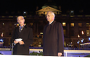 Sir Timothy Sainsbury and Bruno Spinner. Launch of the Somerset House Christmas Ice Rink. Hosted by Sir Timothy Sainsbury and H.E. Bruno Spinner Amabassador of Switzerland. © Copyright Photograph by Dafydd Jones 66 Stockwell Park Rd. London SW9 0DA Tel 020 7733 0108 www.dafjones.com