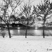 Black and white photo along Brush Creek, Country Club Plaza area of Kansas City, Missouri.