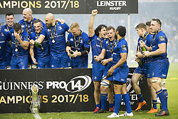 May 27, 2018 - Dublin, Ireland - Leinster players celebrate winning during the Guinness PRO14 Final match between Leinster Rugby and Scarlets at Aviva Stadium in Dublin, Ireland on May 26, 2018  (Credit Image: © Andrew Surma/NurPhoto via ZUMA Press)