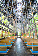 Interior photography of Thorncrown Chapel in Eureka Springs, Arkansas designed by Fay Jones.