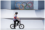 Team GB's Charlotte Worthington at the Tokyo 2020 Olympic Games women's BMX freestyle final at the Ariake Urban Sports Park in Tokyo, Japan. Worthington won Gold for Team GB.
