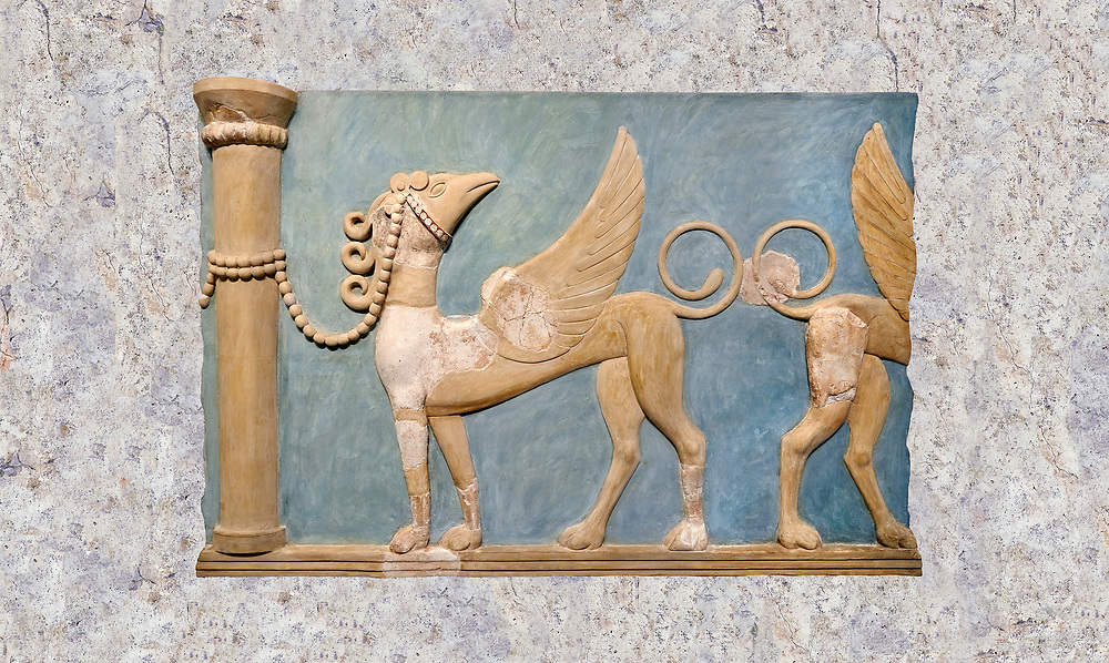 Minoan high relief wall art fresco of Griffins, Gret East Hall, Knossos. 1600-1450 BC. Heraklion Archaeological Museum.<br /> <br /> This minoan high relief fresco decorated the Great East Hall of Knossos palace. The decoration of the hall included religious scenes depicting boxing, and bull leaping games. .<br /> <br /> If you prefer to buy from our ALAMY PHOTO LIBRARY  Collection visit : https://www.alamy.com/portfolio/paul-williams-funkystock/minoan-art-artefacts.html . Type -   Heraklion   - into the LOWER SEARCH WITHIN GALLERY box. Refine search by adding background colour, place, museum etc<br /> <br /> Visit our MINOAN ART PHOTO COLLECTIONS for more photos to download  as wall art prints https://funkystock.photoshelter.com/gallery-collection/Ancient-Minoans-Art-Artefacts-Antiquities-Historic-Places-Pictures-Images-of/C0000ricT2SU_M9w