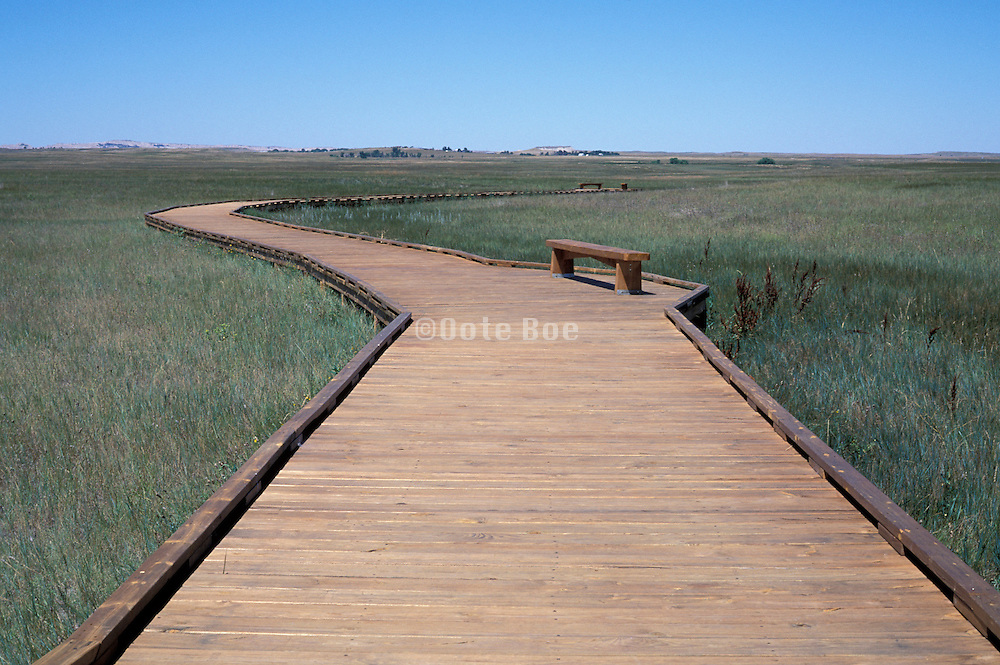 Wooden Walkway Through Prairie Grass