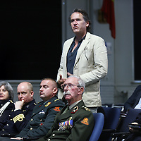 Nederland, Doorn , 26 september 2013.<br /> Veteranendag op militaire basis in Doorn.<br /> Karl Marlantes, Vietnam veteraan en schrijver ontmoet Nederlandse veteranen van de oorlog in Afghanistan. In beeld: Journalist in het publiek stelt een vraag.<br /> <br /> Veterans day at militairy base in Doorn.<br /> Karl Marlantes, Vietnam veteran and writer meets veterans of the  Afghanistan war.  Karl Marlantes (born December 24, 1944) is an American author, businessman, and decorated Marine veteran.<br /> He is the author of Matterhorn: A Novel of the Vietnam War<br /> <br /> Foto:Jean-Pierre Jans