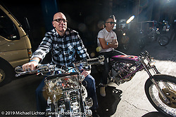 Duane Ballard and Kiyo Mitsuhiro Kiyonaga staging for the grand entry into the Annual Mooneyes Yokohama Hot Rod and Custom Show. Japan. Sunday, December 7, 2014. Photograph ©2014 Michael Lichter.