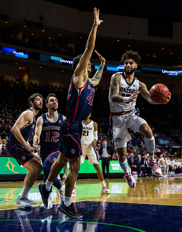 Mar 12 2019  Las Vegas, NV, U.S.A.Gonzaga guard Josh Perkins (13) drives to the basket during the NCAA  West Coast Conference Men's Basketball Tournament championship between the Gonzaga Bulldogs and the Saint Mary's Gaels 47-60 lost at Orleans Arena Las Vegas, NV.  Thurman James / CSM