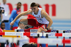 08.03.2014, Ergo Arena, Sopot, POL, IAAF, Leichtathletik Indoor WM, Sopot 2014, im Bild 60 m plotki, hurdles, Dominik Bochenek (POL) // 60 m plotki, hurdles, Dominik Bochenek (POL)  during day two of IAAF World Indoor Championships Sopot 2014 at the Ergo Arena in Sopot, Poland on 2014/03/08. EXPA Pictures © 2014, PhotoCredit: EXPA/ Newspix/ Tomasz Jastrzebowski<br /> <br /> *****ATTENTION - for AUT, SLO, CRO, SRB, BIH, MAZ, TUR, SUI, SWE only*****