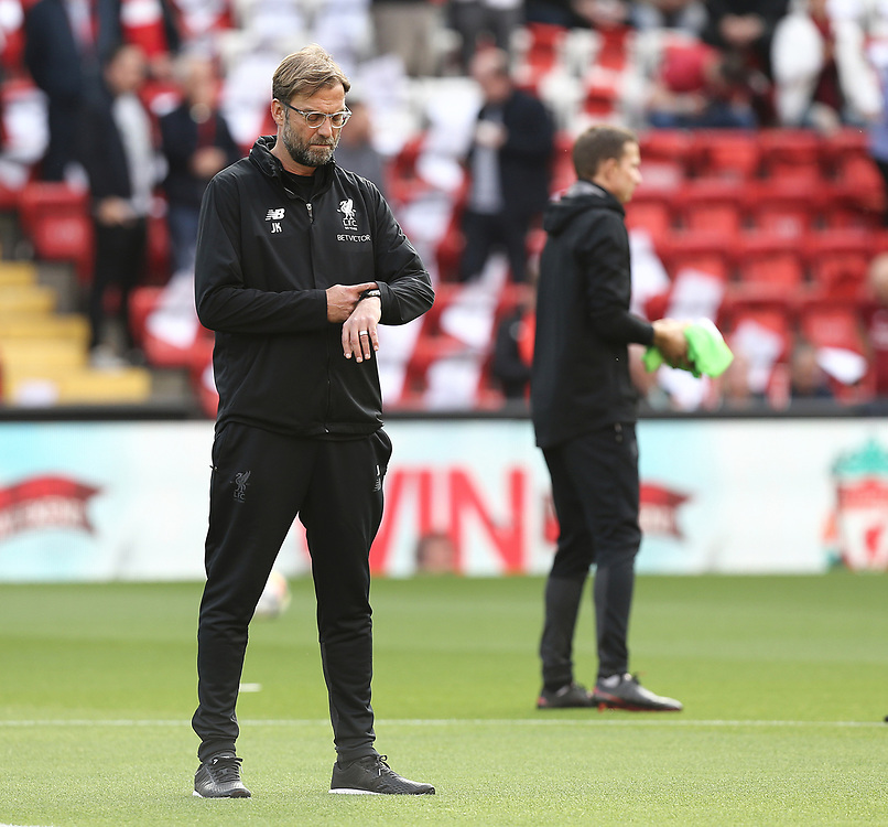 Liverpool manager Jurgen Klopp checks his watch during the pre-match warm-up  <br /> <br /> Photographer Rich Linley/CameraSport<br /> <br /> The Premier League - Liverpool v Manchester United - Saturday 14th October 2017 - Anfield - Liverpool<br /> <br /> World Copyright © 2017 CameraSport. All rights reserved. 43 Linden Ave. Countesthorpe. Leicester. England. LE8 5PG - Tel: +44 (0) 116 277 4147 - admin@camerasport.com - www.camerasport.com