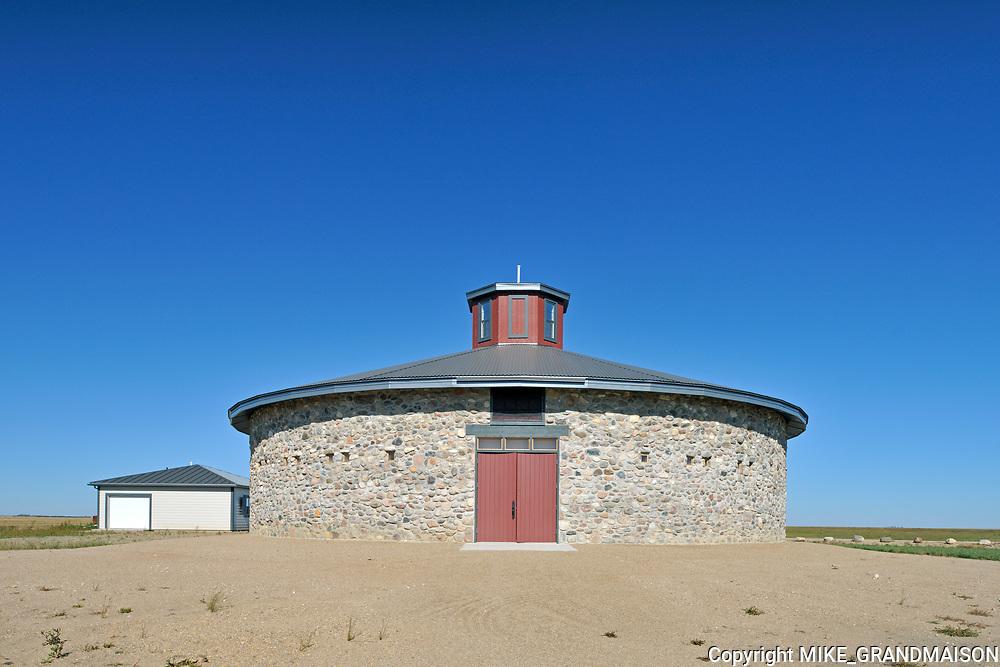 Historical round barn  on Bell Farm<br />Indian Head<br />Saskatchewan<br />Canada