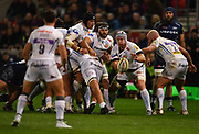 Exeter Chiefs No.8 Thomas Waldrom passes the ball at a maul during the The Aviva Premiership match Sale Sharks -V- Exeter Chiefs  at The AJ Bell Stadium, Salford, Greater Manchester, England on Friday, October 27, 2017. (Steve Flynn/Image of Sport)