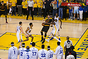 Golden State Warriors forward Draymond Green (23) fouls Cleveland Cavaliers forward Kevin Love (0) during a lay up attempt during Game 5 of the NBA Finals at Oracle Arena in Oakland, Calif., on June 12, 2017. (Stan Olszewski/Special to S.F. Examiner)