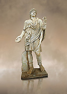 2nd century AD Roman marble sculpture known as the Farnese Lar (Lare) from the Baths of Caracalla, Rome,  inv 5975,  Farnese Collection, Museum of Archaeology, Italy ..<br /> <br /> If you prefer to buy from our ALAMY STOCK LIBRARY page at https://www.alamy.com/portfolio/paul-williams-funkystock/greco-roman-sculptures.html . Type -    Naples    - into LOWER SEARCH WITHIN GALLERY box - Refine search by adding a subject, place, background colour, museum etc.<br /> <br /> Visit our CLASSICAL WORLD HISTORIC SITES PHOTO COLLECTIONS for more photos to download or buy as wall art prints https://funkystock.photoshelter.com/gallery-collection/The-Romans-Art-Artefacts-Antiquities-Historic-Sites-Pictures-Images/C0000r2uLJJo9_s0c