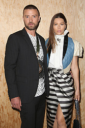 File photo dated October 01, 2019 of Justin Timberlake and Jessica Biel attending the Louis Vuitton Womenswear Spring/Summer 2020 show as part of Paris Fashion Week in Paris, France. According to DailyMail.com The 38-year-old actress and her husband Justin Timberlake, who already have 5-year-old son Silas together, are believed to have become parents for the second time, as Jessica reportedly gave birth to a baby boy earlier this week. Photo by Jerome Domine/ABACAPRESS.COM