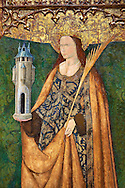 Gothic Altarpiece of Saint Barbara, 3rd quarter of the 15th century, tempera and gold leaf on for wood.  National Museum of Catalan Art, Barcelona, Spain, inv no: MNAC   114746-7. .<br /> <br /> If you prefer you can also buy from our ALAMY PHOTO LIBRARY  Collection visit : https://www.alamy.com/portfolio/paul-williams-funkystock/gothic-art-antiquities.html  Type -     MANAC    - into the LOWER SEARCH WITHIN GALLERY box. Refine search by adding background colour, place, museum etc<br /> <br /> Visit our MEDIEVAL GOTHIC ART PHOTO COLLECTIONS for more   photos  to download or buy as prints https://funkystock.photoshelter.com/gallery-collection/Medieval-Gothic-Art-Antiquities-Historic-Sites-Pictures-Images-of/C0000gZ8POl_DCqE