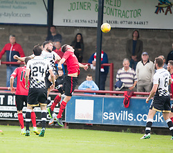 Inverness Caledonian Thistle's Brad McKay (22) scoring their second goal. Half time : Brechin City 0 v 2 Inverness Caledonian Thistle, Scottish Championship game played 26/8/2017 at Brechin City's home ground Glebe Park.