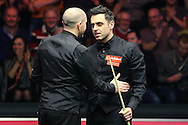 Joe Perry (Eng) congratulates Ronnie O'Sullivan (Eng) after Ronnie O'Sullivan wins the match. Ronnie O'Sullivan (Eng) v Joe Perry (Eng), the Masters Final at the Dafabet Masters Snooker 2017, at Alexandra Palace in London on Sunday 22nd January 2017.<br /> pic by John Patrick Fletcher, Andrew Orchard sports photography.