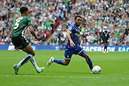 Andy Barcham midfielder for AFC Wimbledon (17) skips past Plymouth Argyle defender Curtis Nelson (5) during the Sky Bet League 2 play off final match between AFC Wimbledon and Plymouth Argyle at Wembley Stadium, London, England on 30 May 2016. Photo by Stuart Butcher.
