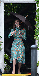 The Duchess of Cambridge arrives for a visit to the White Garden in Kensington Palace, London and to meet with representatives from charities supported by Diana, the Princess of Wales.