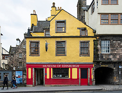 Exterior of Museum of Edinburgh on the Royal Mile in Edinburgh Old Town, Scotland, United Kingdom