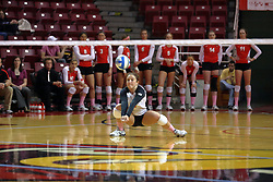 29 October 2011: Jenny Menendez readies low to the ground to get a dig During a match between the Creighton Bluejays and the Illinois State Redbirds at Redbird Arena in Normal Illinois