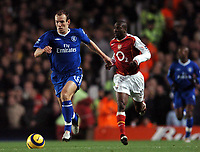 Photo: Javier Garcia/Back Page Images<br />Arsenal v Chelsea, FA Barclays Premiership, Highbury 12/12/04<br />Arjen Robben is chased by Lauren