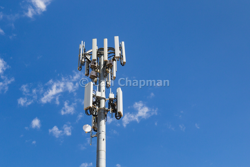 Antennas for 3 sector multi-site cellular  communications  mobile telephone system on a monopole tower in South Australia, Australia. <br /> <br /> Editions:- Open Edition Print / Stock Image