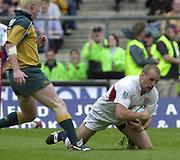 24/05/2002<br /> Sport - Rugby Union<br /> IRB World Sevens Series - Twickenham<br /> England v Aus<br /> Tony Roques, scores England first half equaliser <br />    [Mandatory Credit, Peter Spurier/ Intersport Images]<br />    [Mandatory Credit, Peter Spurier/ Intersport Images]