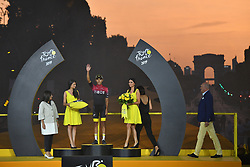 July 28, 2019, Paris, France: Colombian Egan Bernal of Team Ineos celebrates on the podium in the yellow jersey of leader in the overall ranking after the final stage of the 106th edition of the Tour de France cycling race, from Rambouillet to Paris Champs-Elysees (128km), France, Sunday 28 July 2019. This year's Tour de France starts in Brussels and takes place from July 6th to July 28th. (Credit Image: © David Stockman/Belga via ZUMA Press)
