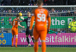 Dundee United's keeper Harry Lewis can't stop Falkirk's Louis Longridge (not in pic) shot for their fifth goal. Falkirk 6 v 1 Dundee United, Scottish Championship game played 6/1/2018 played at The Falkirk Stadium.