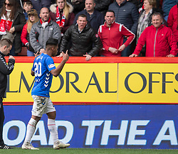 Rangers Alfredo Morelos gestures to Aberdeen fans at end during the William Hill Scottish Cup quarter final match at Pittodrie Stadium, Aberdeen.
