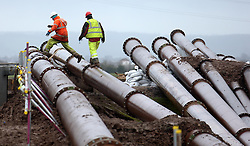 © Licensed to London News Pictures. 17/02/2014. DUNBALL, UK High capacity water pumps deployed on the Somerset Levels have had to be switched off because of damage to the riverbank. The pumps at Dunball, which have been brought in from the Netherlands, were installed by the Environment Agency.. Photo credit : Jason Bryant/LNP