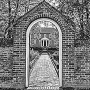 A garden gate on the grounds of historic Kenmore Plantation in Fredericksburg, Virginia.