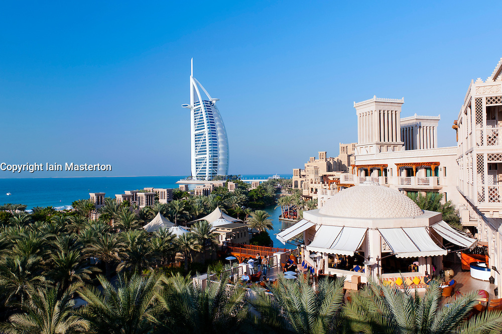 View of resort hotels at Madinat and Burj al Arab hotel in Dubai in United Arab Emirates