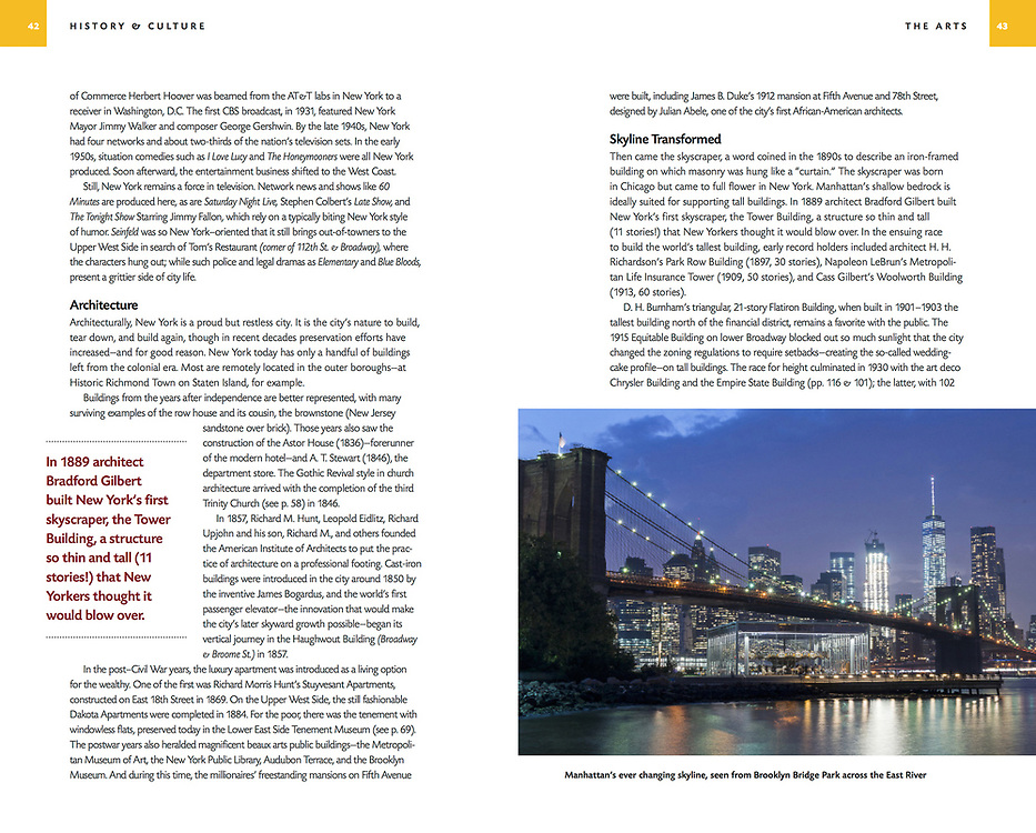 Brooklyn Bridge and Manhattan image appearing in Nat Geo Traveler Guide Book on NYC