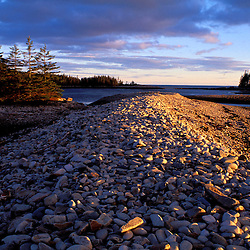 West Pond Cove, Acadia N.P., ME. Rocky Coast. Schoodic Peninsula. The rocky barrier beach of West Pond Cove.