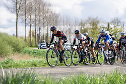 Alexis Ryan (CANYON//SRAM) controls the pace of the peloton as a small group goes up the road at Omloop van Borsele 2016. A 139 km road race starting and finishing in 's-Heerenhoek, Netherlands on 23rd April 2016.