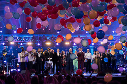 Sir Tom Jones (centre) and other performers on stage at the Royal Albert Hall in London during a star-studded concert to celebrate the Queen's 92nd birthday.