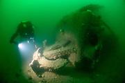 Kedge anchor on the stern of the Koln