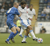 Photo: Aidan Ellis.<br /> Rochdale v Wycombe Wanderers. Coca Cola League 2. 16/09/2006.<br /> Wycombe's new signing tom doherty (R) battles with Rochdale's Gary Jones