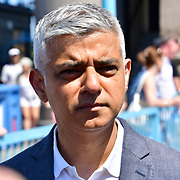 Sadiq Khan is a Mayor of London attend to celebrates London hosting of UEFA EURO 2020 including both semi finals and the final with thousands of poster laid along Tower Bridge on 13th June 2021, London, UK