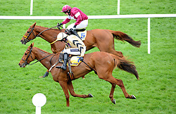 Road To Respect ridden by Bryan Cooper (top) go on to win the Ryanair Gold Cup Novice Chase during the Easter Festival at Fairyhouse Racecourse, Co. Meath, Ireland.