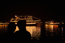 North America, United States, Washington, Bellevue, couple at annual Christmas Ship Parade
