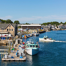 The working waterfront in Vinalhaven, Maine. Linda Bean's Lobster wharf is in the foreground, with the Vinalhaven Fishermen's Co-op wharf behind that.